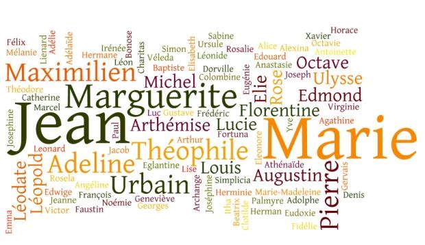 Les prénoms de la famille Vernet de 1765 à 1903.